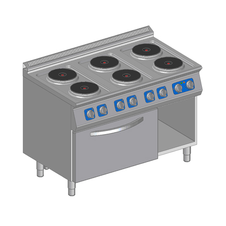 Kuchnia elektryczna 6-płytowa z piekarnikiem elektrycznym
