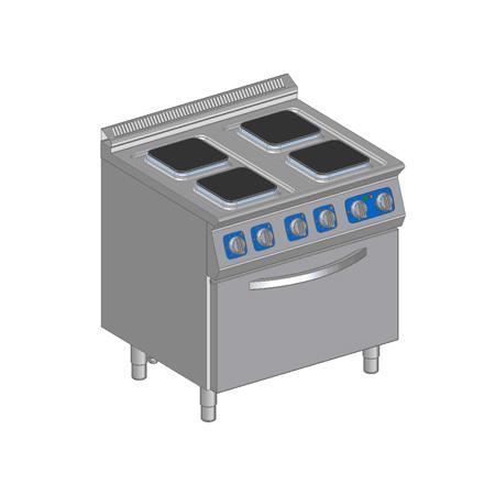 Kuchnia elektryczna 4-płytowa z piekarnikiem elektrycznym