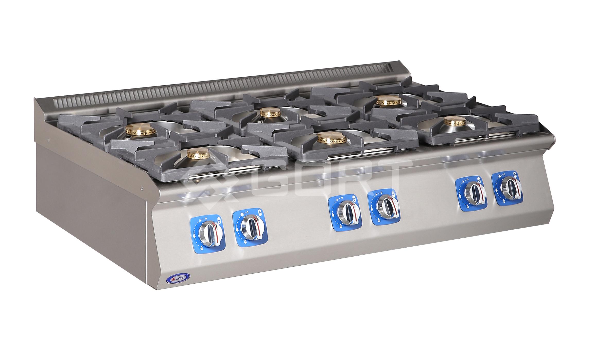 Kuchnia gazowa 6-palnikowa nastawiana