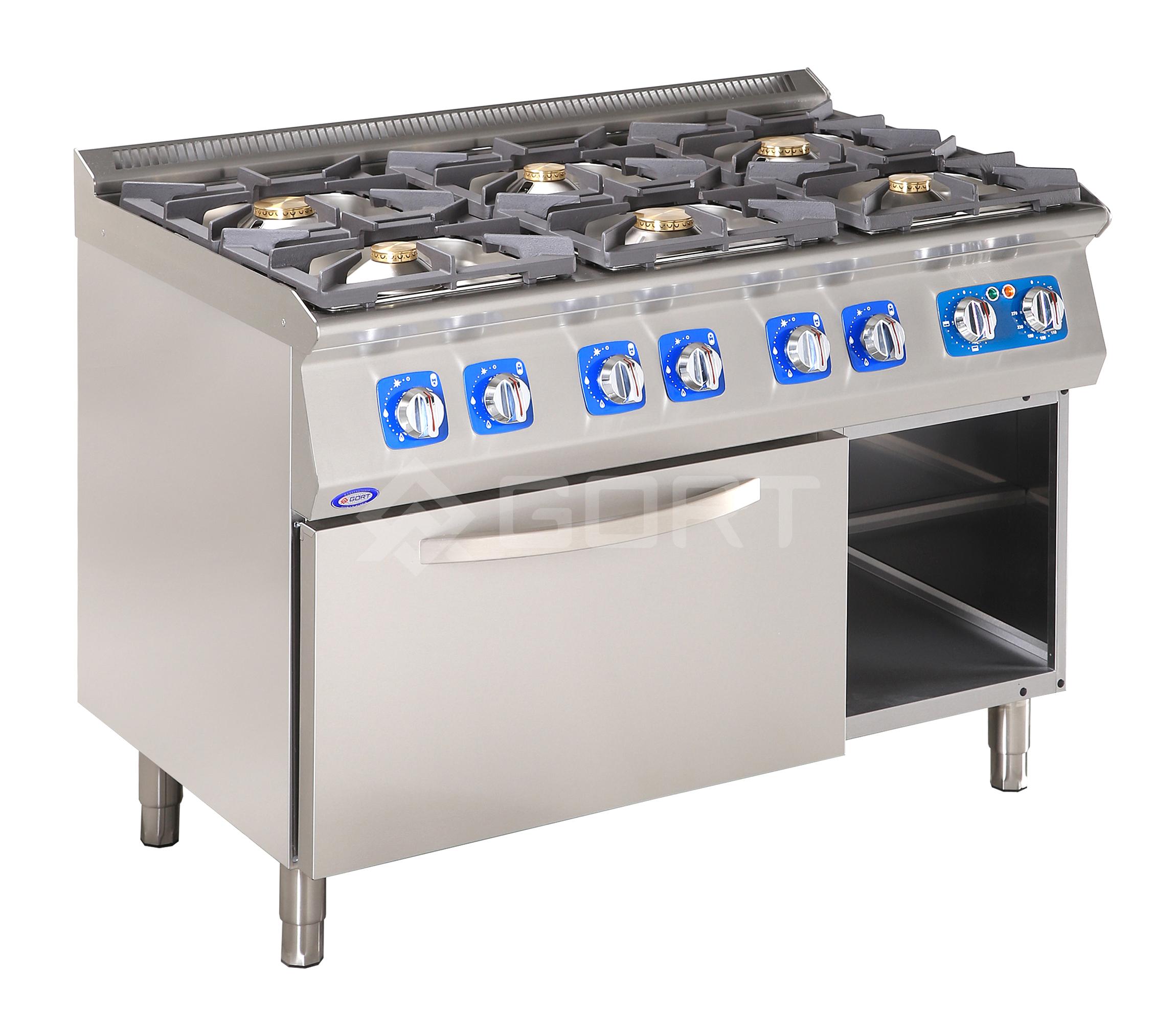 Kuchnia gazowa 6-palnikowa z piekarnikiem elektrycznym