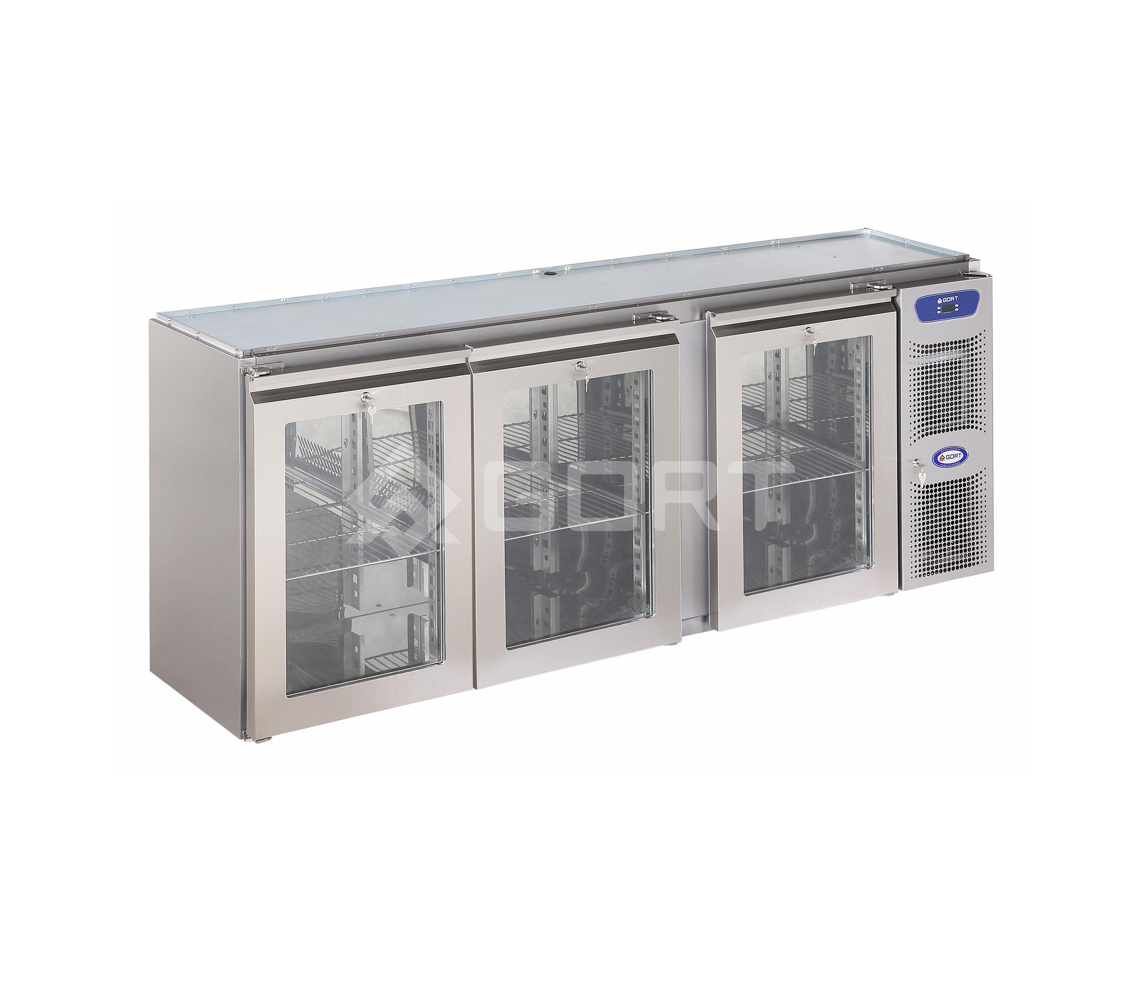 Stół chłodniczy barowy 3-komorowy, drzwi przeszklone