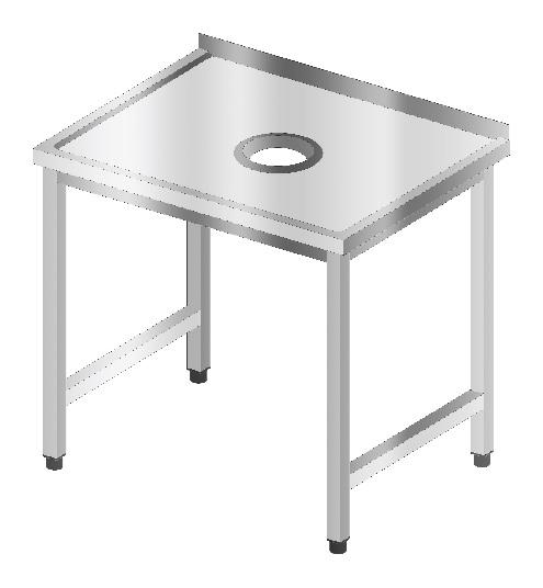Stół sortowniczy z otworem na odpadki