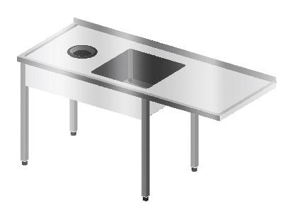 Stół ze zlewem, miejscem na zmywarkę podblatową i otworem na odpadki