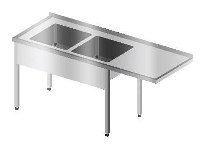 Stół ze zlewem 2 komorowym i miejscem na zmywarkę podblatową