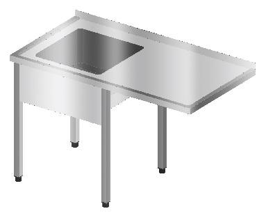 Stół ze zlewem i miejscem na zmywarkę podblatową