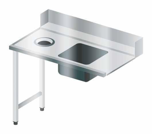 Stół załadowczy ze zlewem i otworem na odpady
