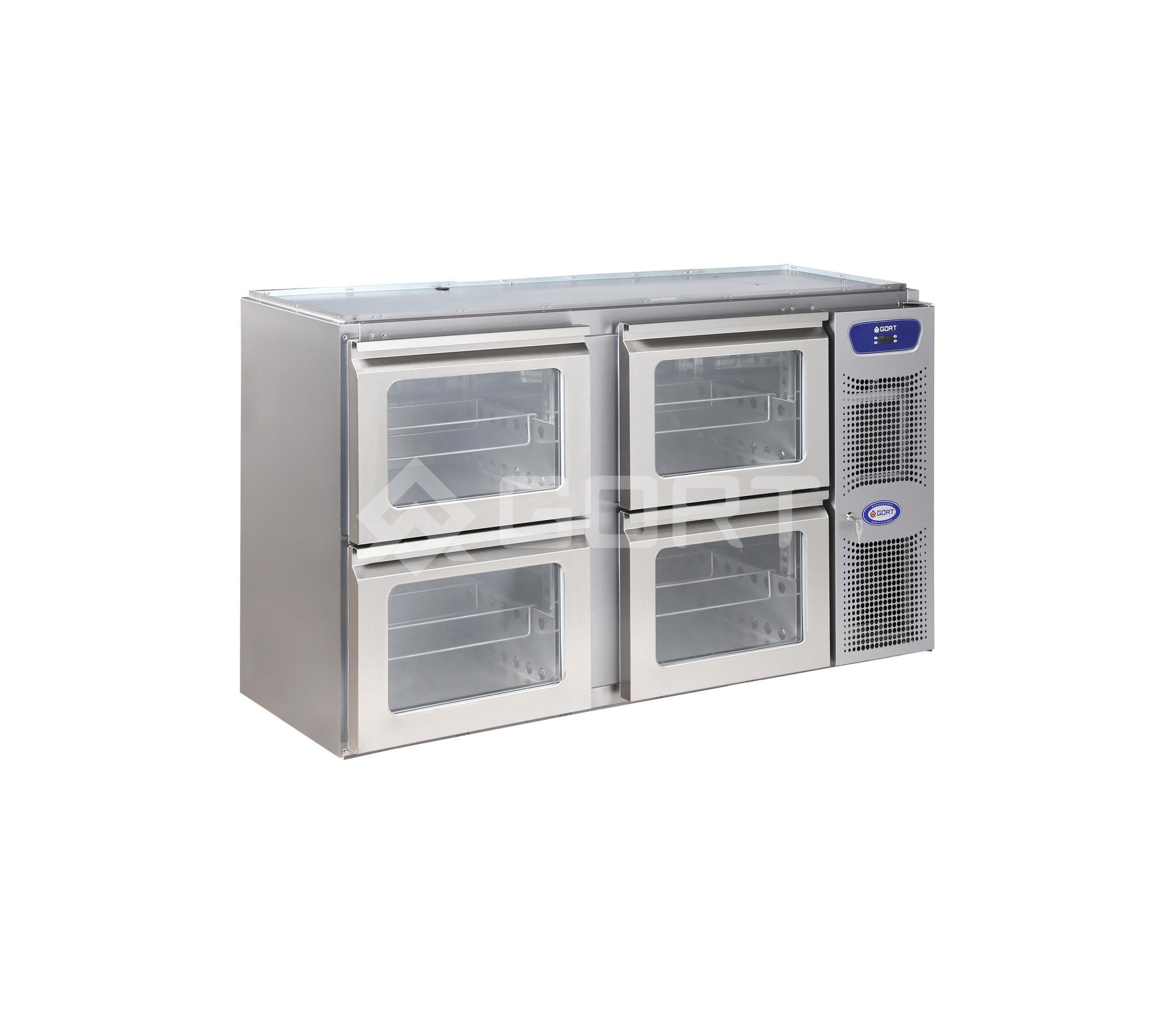 4 glass drawer bar counter refrigerator