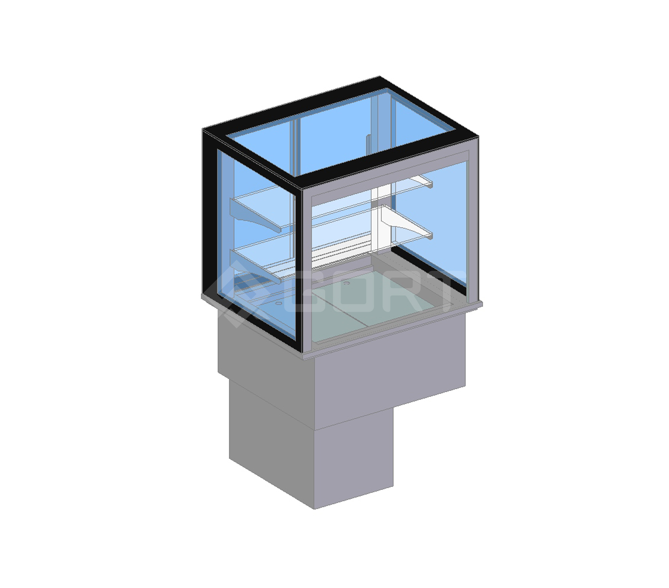 Island refrigerated display DROP-IN, 2 x GN1/1, open