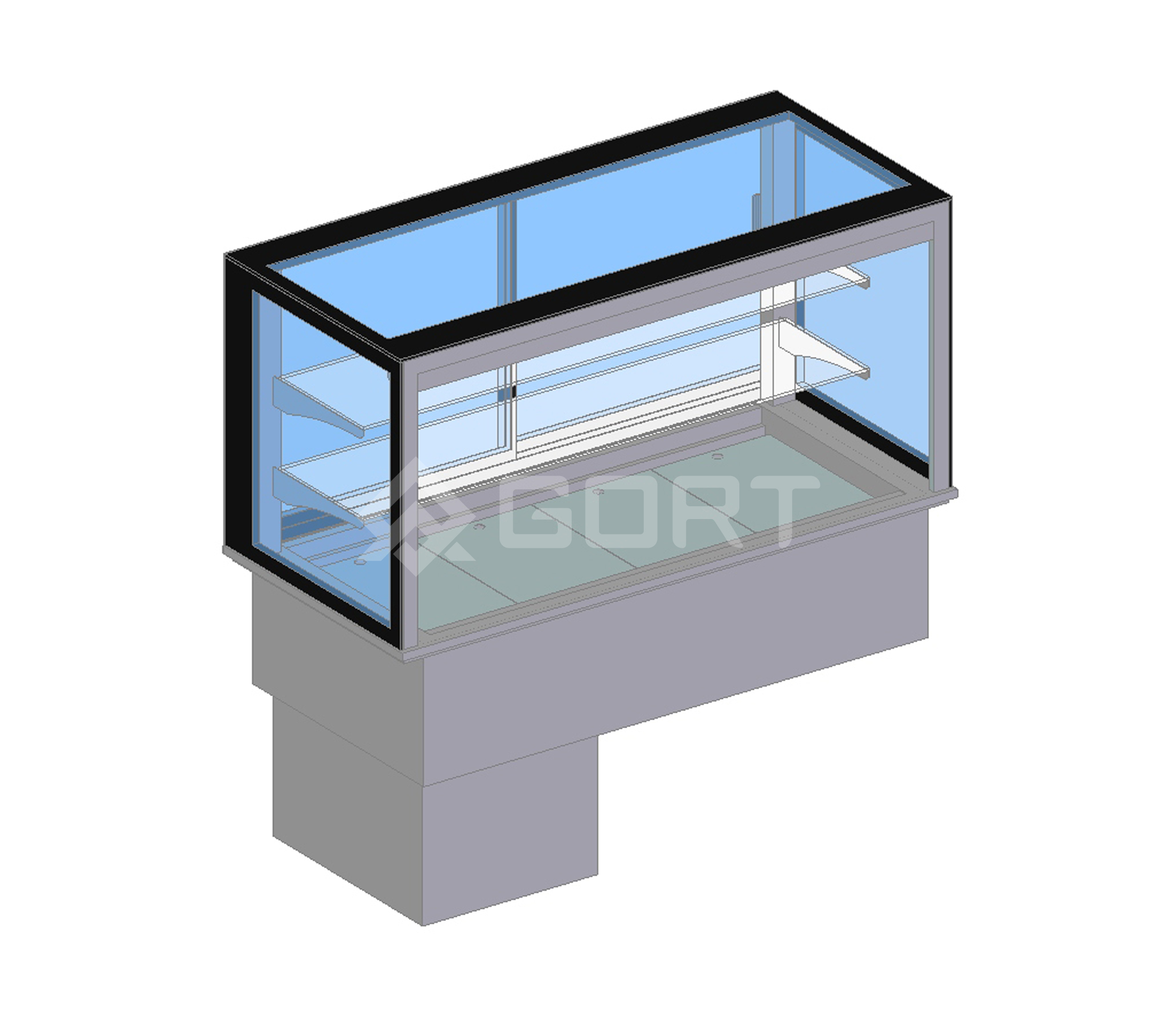 Island refrigerated display DROP-IN, 4 x GN1/1, open