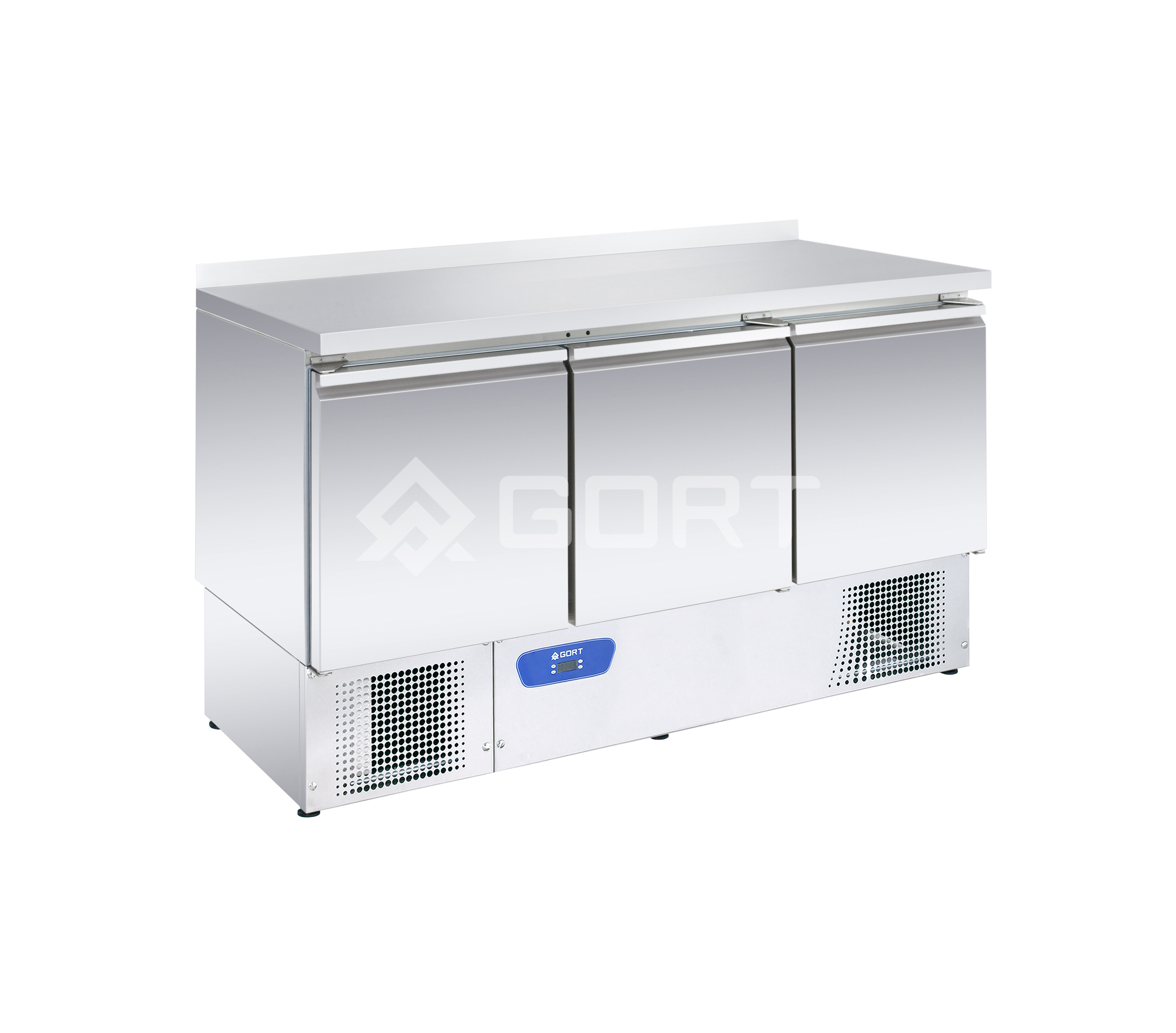 3 door refrigerated counter GN1/1 with compressor at the bottom